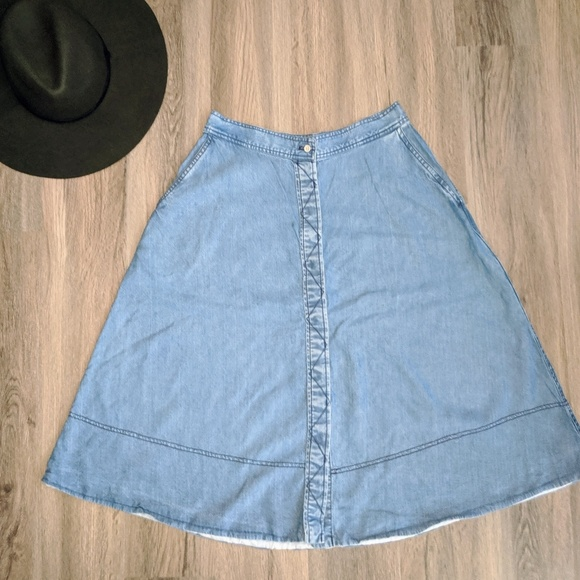 Wilfred Blue Lyocell Button Up Midi Skirt Size 8